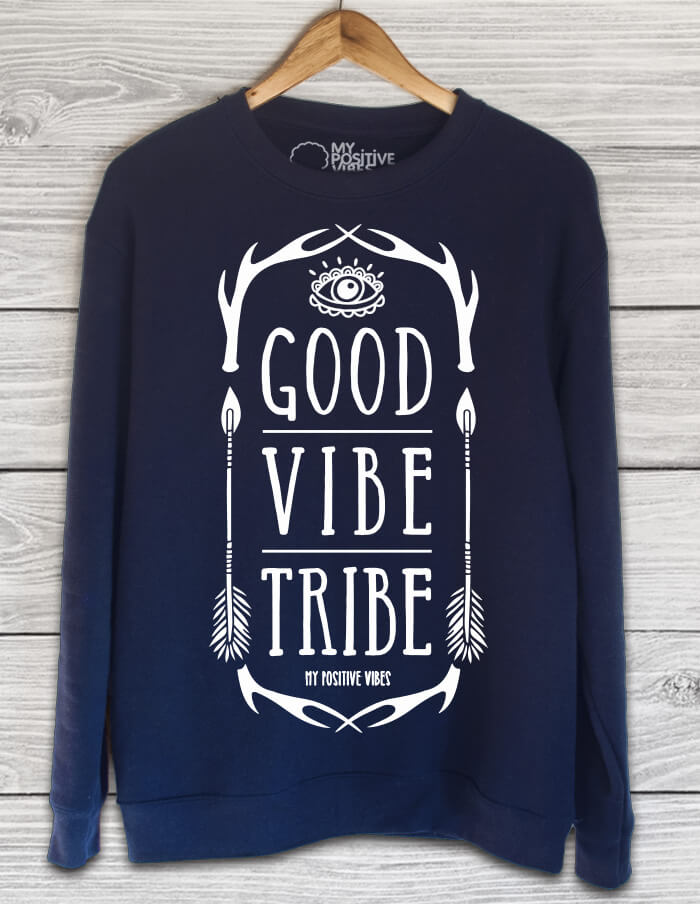 good vibe tribe blue sweater