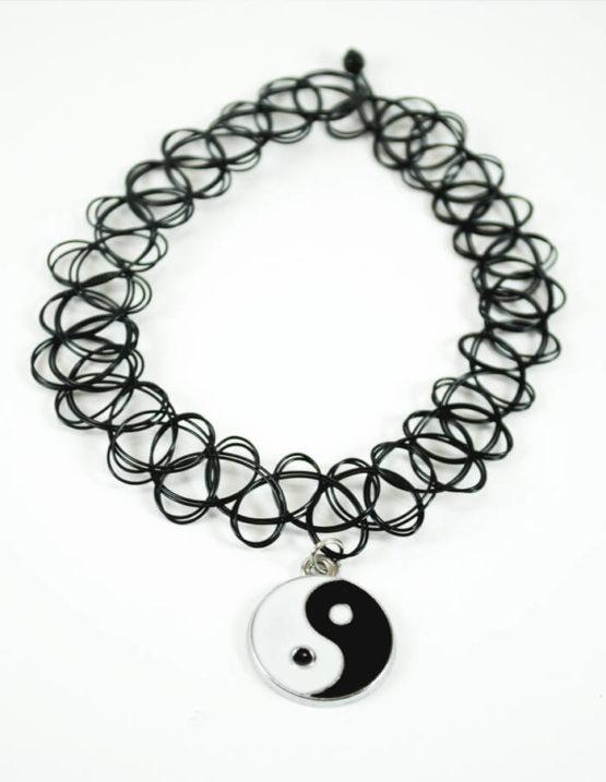 yin yang tattoo choker charm