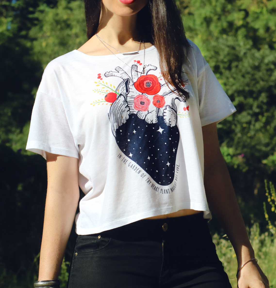 Heart with flowers woman t shirt my positive vibes heart with flowers crop t shirt mightylinksfo