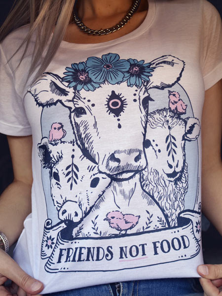 vegan shirt friends not food herbivore plant based white tshirt