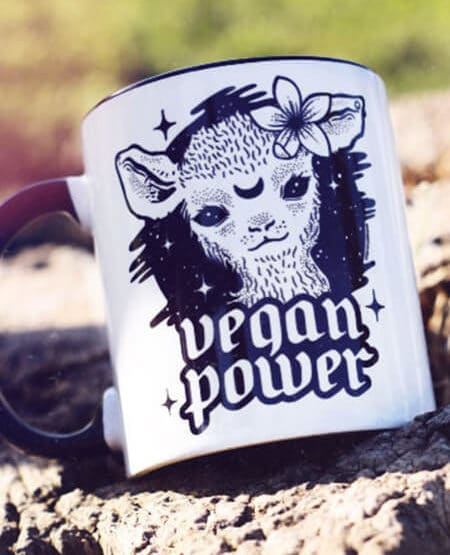 vegan mug vegan power cute lamb coffee mug coffee cup