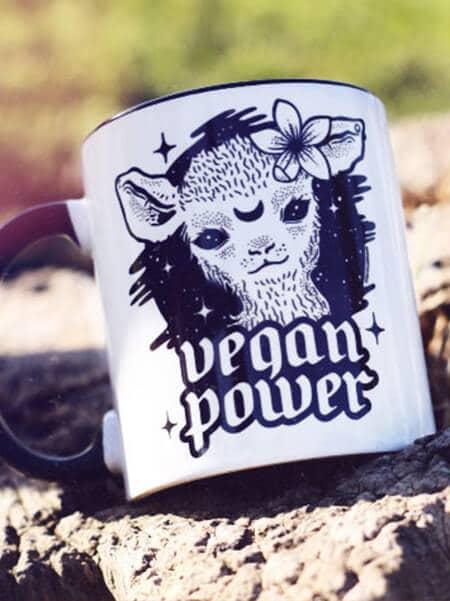 vegan mug vegan power cute lamb coffee mug coffee cup
