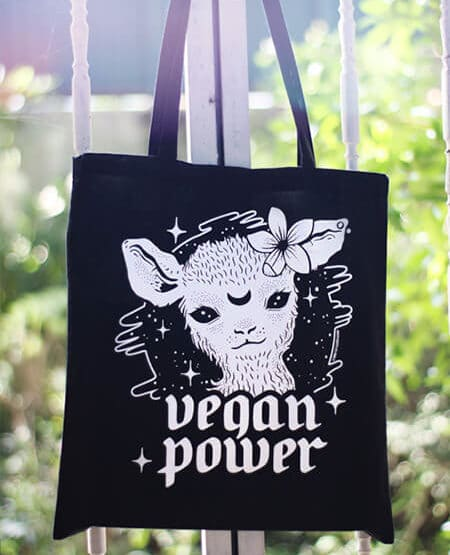 saco de pano vegan power preto