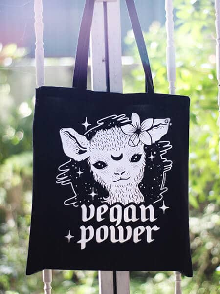vegan tote bag vegan power